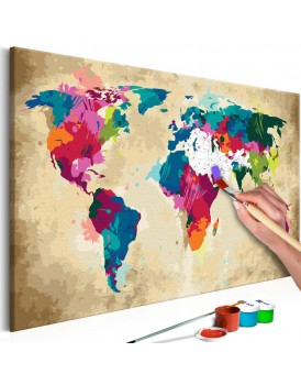 Doe-het-zelf op canvas schilderen - World Map (Colourful)