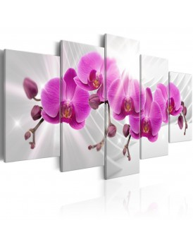 Schilderij - Abstract Garden: Pink Orchids
