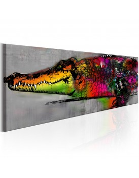 Schilderij - Colourful Alligator