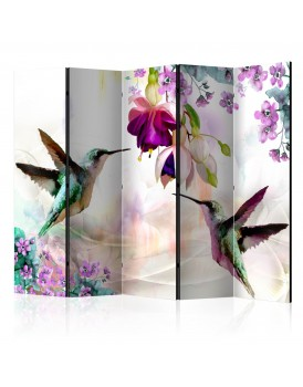 Vouwscherm - Hummingbirds and Flowers II [Room Dividers]