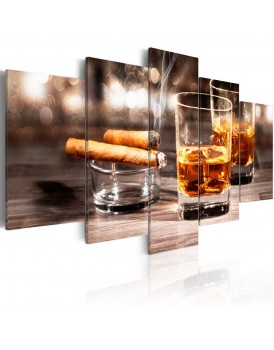 Schilderij - Cigar and whiskey