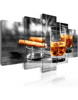 Schilderij - Cigars and whiskey