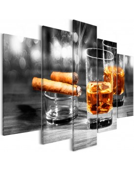 Schilderij - Cigars and Whiskey (5 Parts) Wide