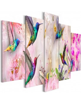 Schilderij - Colourful Hummingbirds (5 Parts) Wide Pink