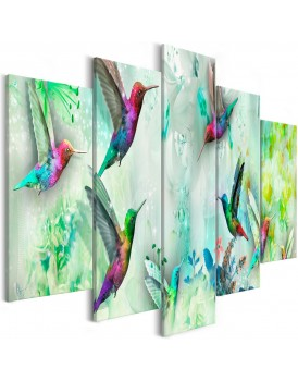 Schilderij - Colourful Hummingbirds (5 Parts) Wide Green
