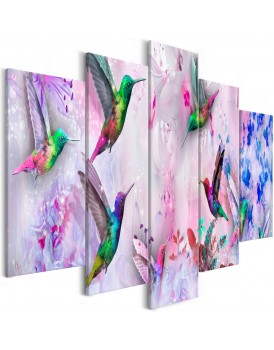 Schilderij - Colourful Hummingbirds (5 Parts) Wide Violet