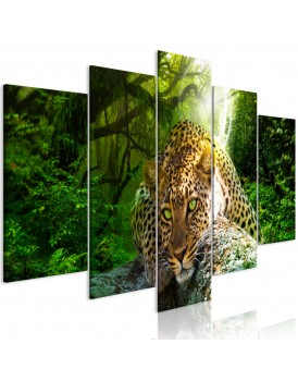 Schilderij - Leopard Lying (5 Parts) Wide Green