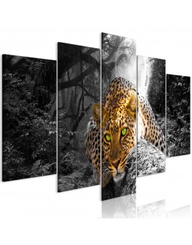 Schilderij - Leopard Lying (5 Parts) Wide Grey