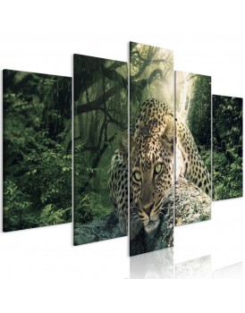 Schilderij - Leopard Lying (5 Parts) Wide Pale Green