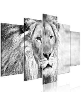 Schilderij - The King of Beasts (5 Parts) Wide Black and White