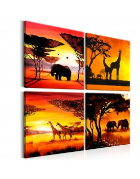 Schilderij - African Animals (4 Parts)