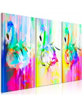 Schilderij - Colourful Flamingos (3 Parts)