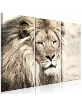 Schilderij - The King of Beasts (3 Parts) Beige
