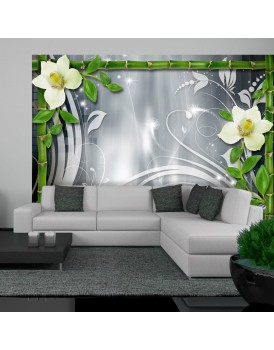 Fotobehang - Bamboo and creamy orchids