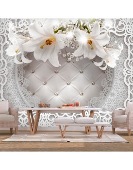 Fotobehang - Lilies and Quilted Background
