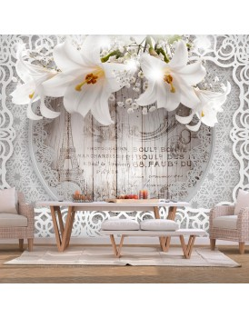 Fotobehang - Lilies and Wooden Background