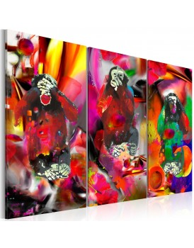 Schilderij - Crazy Monkeys - triptych