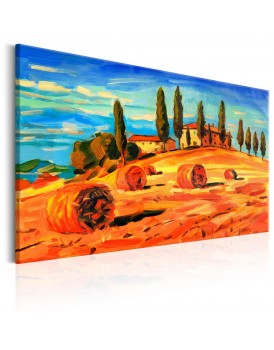 Schilderij - August in Tuscany