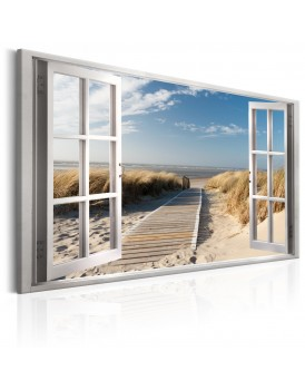 Schilderij - Window: View of the Beach