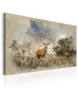 Schilderij - Deer in Field