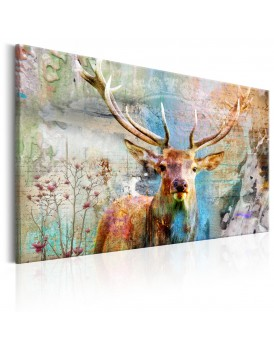 Schilderij - Deer on Wood
