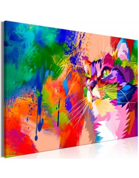 Schilderij - Colourful Cat (1 Part) Wide