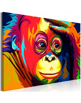 Schilderij - Colourful Orangutan (1 Part) Wide