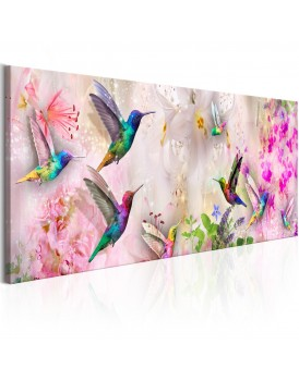 Schilderij - Colourful Hummingbirds (1 Part) Narrow