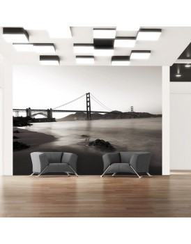 Fotobehang - San Francisco: Golden Gate Bridge in zwart-wit