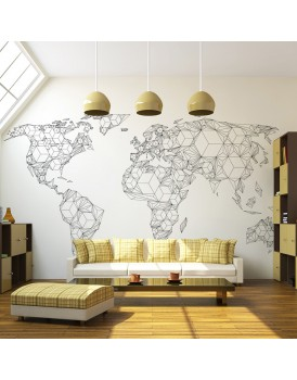 Fotobehang - Map of the World - white solids
