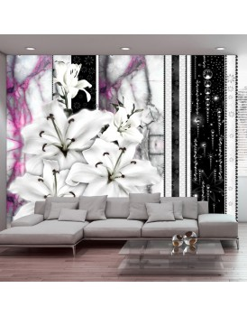 Fotobehang - Crying lilies on purple marble