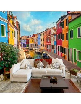 Fotobehang -  Colorful Canal in Burano