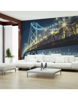 Fotobehang - Bay Bridge in de nacht