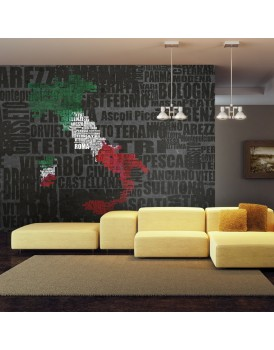 Fotobehang - Text map of Italy