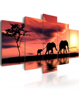 Schilderij - African elephants family