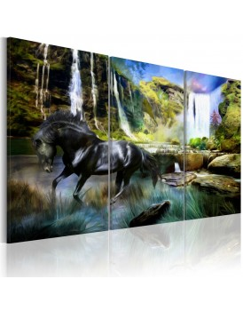 Schilderij - Horse on the sky-blue waterfall background