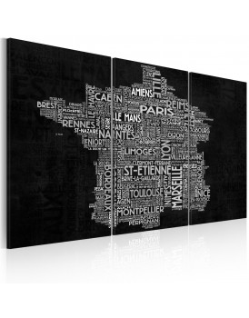 Schilderij - Text map of France on the black background - triptych