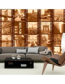 Fotobehang - New York - Collage (sepia)