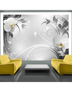Fotobehang - Orchids on silver