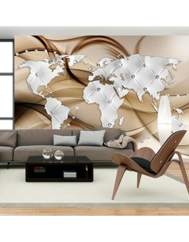 Fotobehang - World Map - White & Diamonds