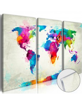 Afbeelding op acrylglas - World Map: An Explosion of Colours [Glass]