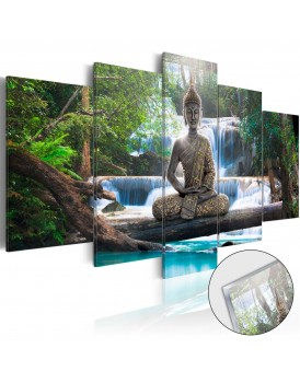 Afbeelding op acrylglas - Buddha and Waterfall [Glass]