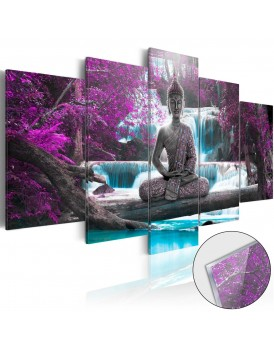 Afbeelding op acrylglas - Waterfall and Buddha [Glass]