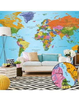Fotobehang XXL - World Map: Colourful Geography II