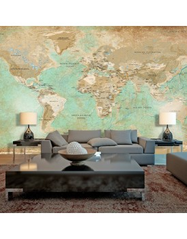 Fotobehang XXL - Turquoise World Map II